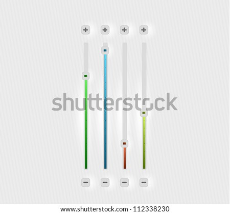 Set of volume bars in green, blue, orange, yellow colors - stock photo