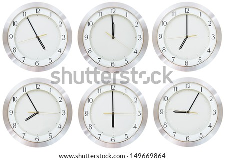set of wall clock with working time isolated on white background - stock photo