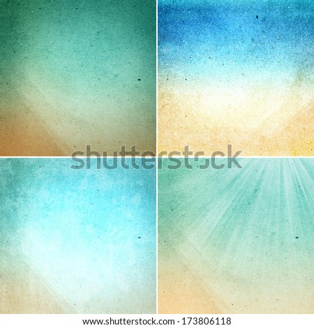Set of  Water colored recycled paper  texture or backgrounds in natural bright pastel colors. Collection of  vibrant  Vintage craft paper texture. High Resolution. - stock photo