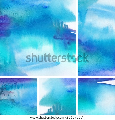 "Set of watercolor abstract hand painted backgrounds. Album   ""Abstract watercolor hand painted background"". ""Winter backgrounds"". ""Sets of water color backgrounds for your advertizing""."
