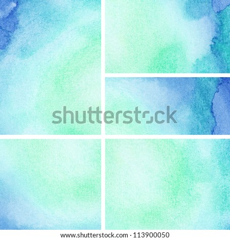 Set of watercolor abstract painted background