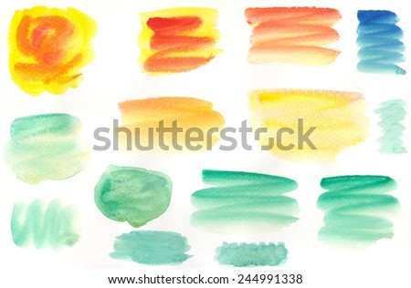 Set of watercolor blobs isolated on white background - stock photo