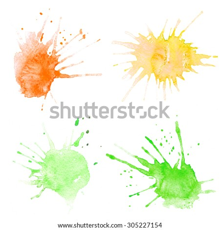 Set of watercolor blobs, isolated on white background. Watercolor round colored icons for design.