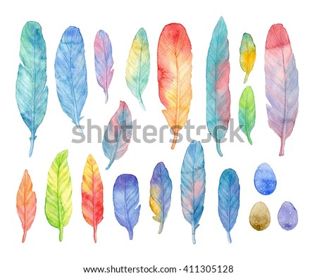 Set of watercolor bright feathers and eggs. Bird feather isolated on white background. Elegant color design. Hand drawn illustration. Perfect for textile design, wedding cards, t-shirt. - stock photo