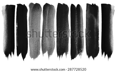 Set of watercolor brush strokes - stock photo