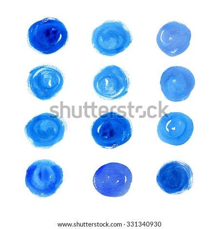 Set of watercolor colored spots isolated on white background. Blue blots.