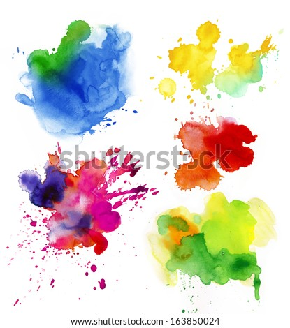 Set of watercolor colorful drops and spray on a white background. - stock photo