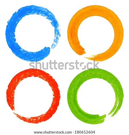 Set of Watercolor Colorful Grunge Circle Stains, raster illustration  - stock photo