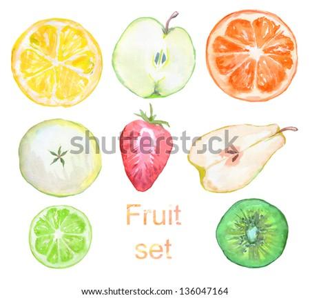 set of watercolor fruit - stock photo