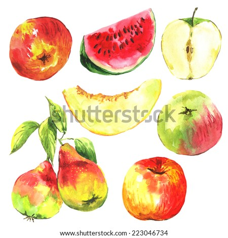 Set of watercolor fruit on a white background. Apple, pear, melon, watermelon, watercolor illustration. - stock photo