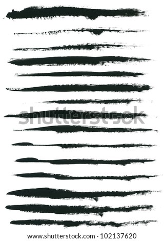 Set of watercolor hand paint brush strokes are isolated on a white background.