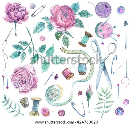 Set of watercolor objects for sewing, handicraft. Sewing tools and sewing kit,sewing equipment, needle, sewing pin and beautiful flowers - stock photo
