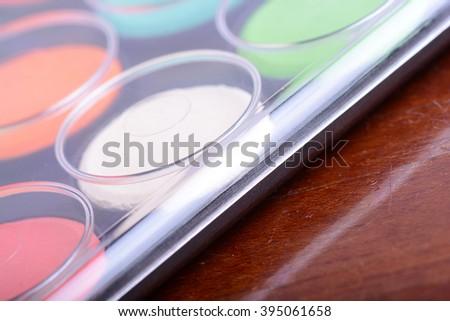 set of watercolor paints close up - stock photo