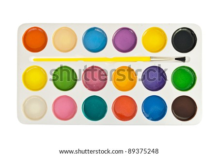 Set of watercolor paints, isolated on white. - stock photo