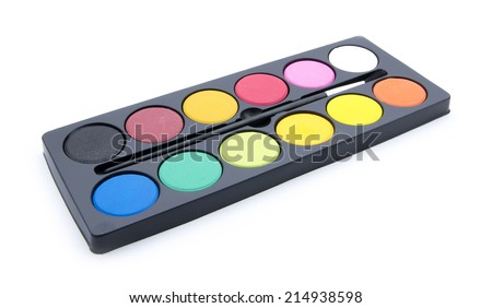 set of watercolor paints isolated on white background - stock photo
