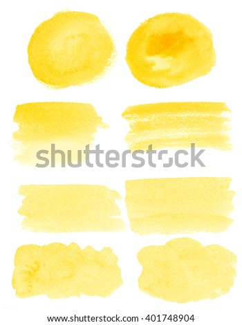 Set of watercolor stain. Spots on a white background. Round, rectangle, spot. Yellow color.  - stock photo