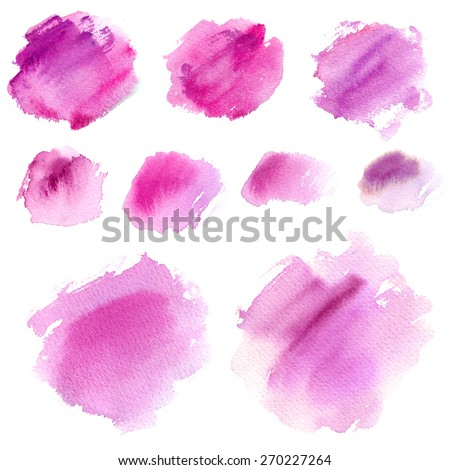 Set of watercolor stains, abstract design elements, on a white background, color circles - stock photo