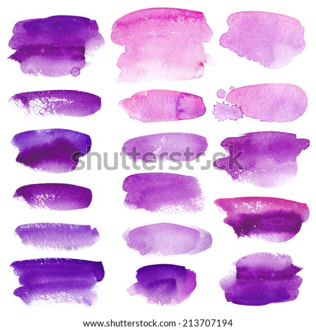 Set of watercolor stains on white background, abstract blots isolated. Bright colors, divorces - stock photo