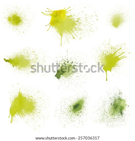 Set of watercolor stains on white background, abstract blots isolated. Colored spots. Blots mascara painted pen on paper. Green