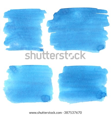 Set of watercolor stains. Spots on a white background. Blue.  - stock photo