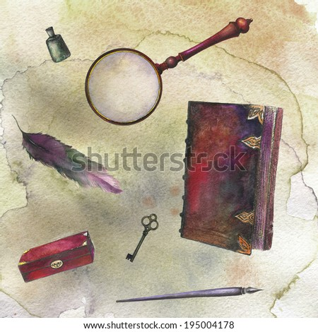 Set of watercolor vintage accessories. antique box, key, ink feather pen, book, magnifying glass, feather. Watercolor painting on Paper. Hand drawing illustration. Watercolor painting on Paper. - stock photo