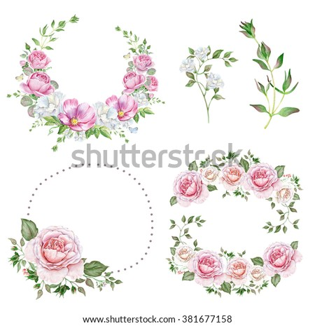Set of watercolor wreaths with delicate roses and other flowers - stock photo