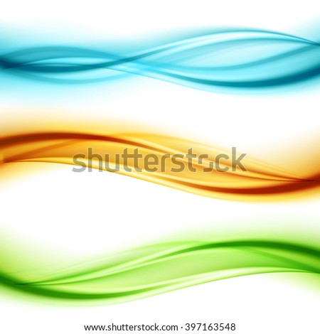 Set of wavy banners. Shiny transparent green, blue and orange wave.