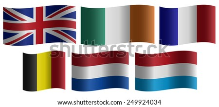 Set of wavy national flags