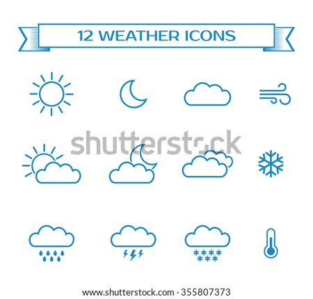 Set of weather icons for design of web interface or mobile widget.Collection of meteorology elements  isolated on white background.