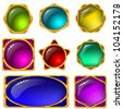 Set of web buttons with gems and golden frames - stock photo