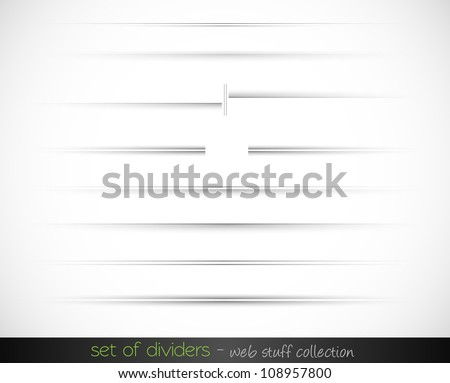 Set of web dividers with delicate gradient. Every divider has transparent shadows and could be copied and past on every surface. - stock photo