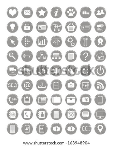 Set of web icons in gray color