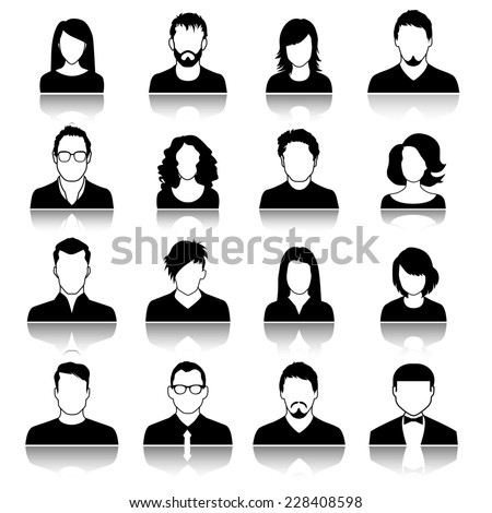 Set of web user icons. Silhouette of man and woman - stock photo