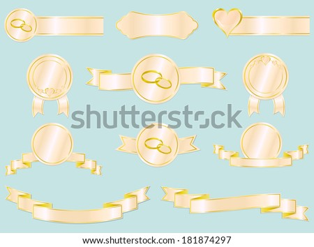 Set of wedding and love ribbons, badges and labels. Raster illustration. In the portfolio you can see vector version of this file.