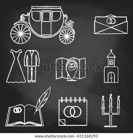 Set of wedding icons painted with white chalk on a blackboard. Decorative icons for wedding day. Hands-drawn style