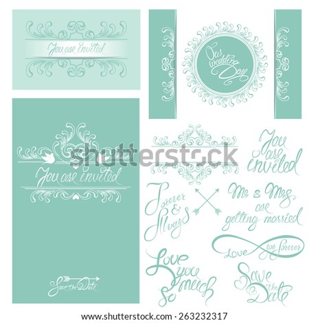 Set of Wedding invitation cards with floral elements, calligraphic handwritten text, background in blue colors. Raster version
