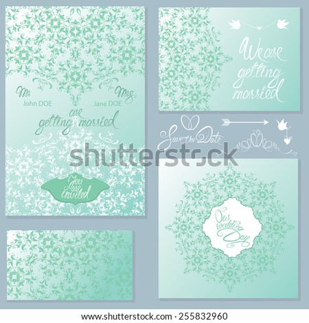 Set of Wedding invitation cards with floral elements, handwritten calligraphic text, background ornamental patterns, vignettes, frames. raster version  - stock photo