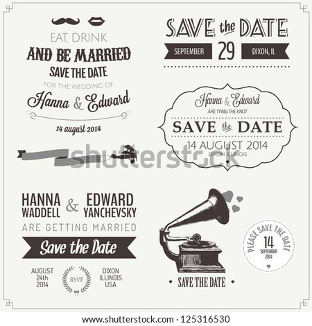 Set of wedding invitation vintage typographic design elements - stock photo
