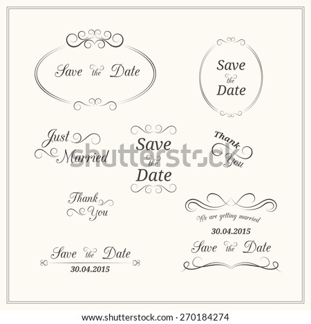 Set of wedding vintage typographic elements for invitation design - stock photo