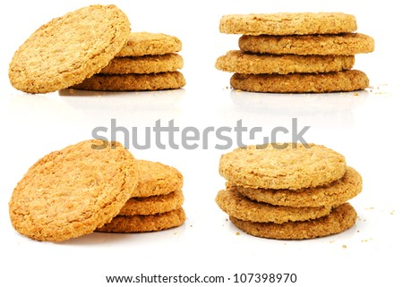 Set of wheat Biscuits on white background. - stock photo