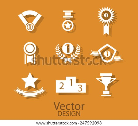 Set of white award success and victory icons with trophies stars cups ribbons rosettes medals medallions wreath and a podium on orange - stock photo