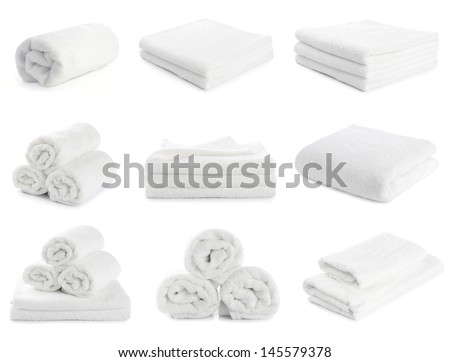 set of white beach towels isolated on  white background - stock photo