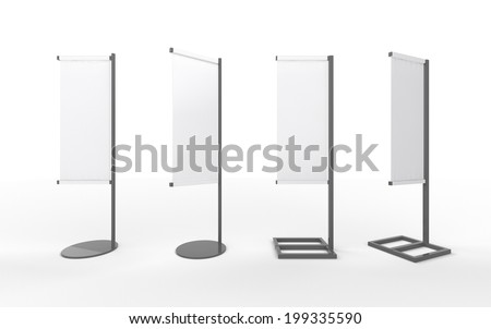 Set of white  blank banner japanese flag display with  aluminum frame , clipping path included. template for  your design or artwork  - stock photo