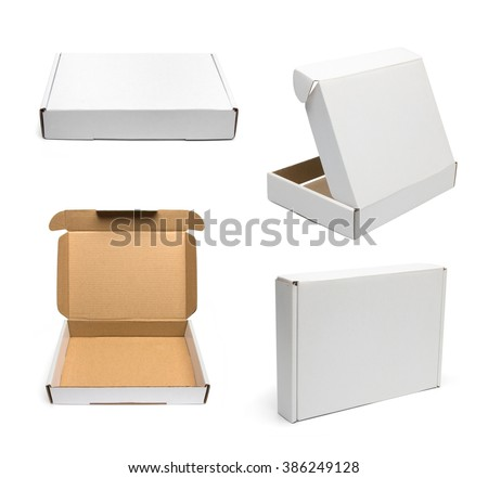 Set of white cardboard boxes.  Boxes mockup. Template ready for your design - stock photo