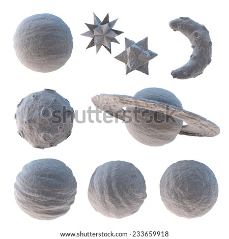 set of white cartoon 3d moon planet and stars - stock photo