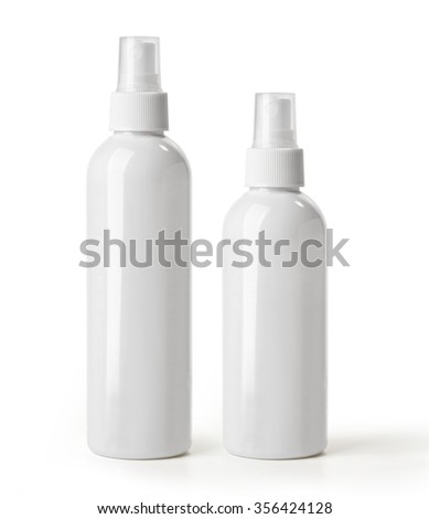 Set of White container of spray bottle isolated over white background. - stock photo