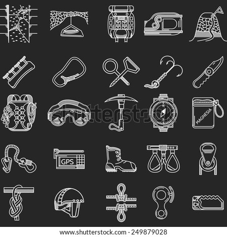 Set of white contour icons for equipment and outfit for rock climbing, alpinism, mountaineering on white background for your site. - stock photo