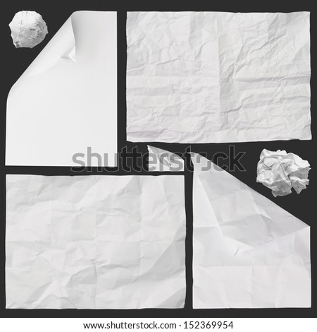 set of white crumpled paper background texture on dark - stock photo