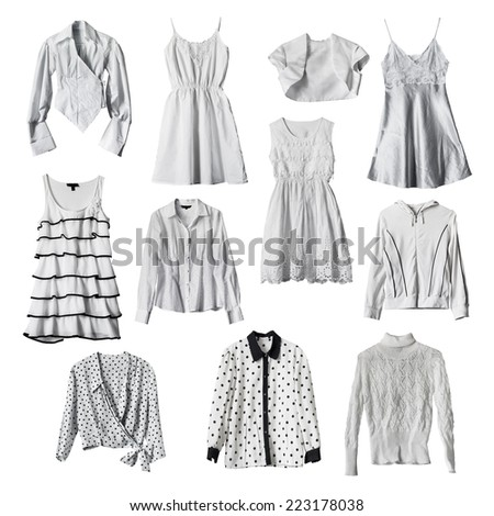 Set of white female clothes isolated over white - stock photo