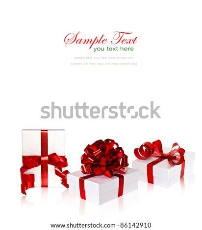 Set of white gift box with red ribbon and bow on white background with copy space.